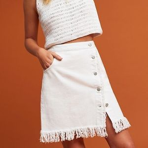 Anthropologie High Waisted Fringe Skirt